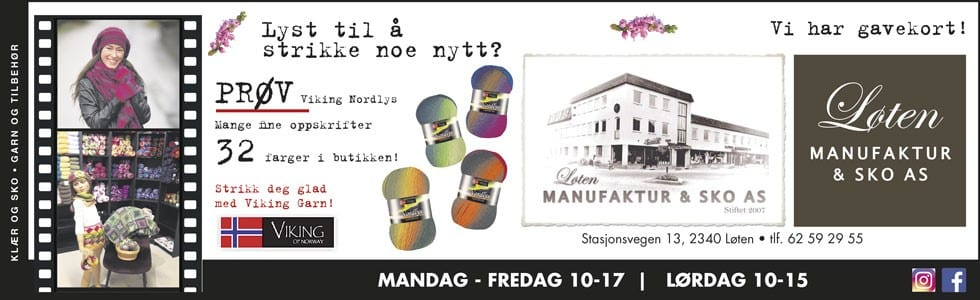 Løten Manufaktur & Sko toppbanner september