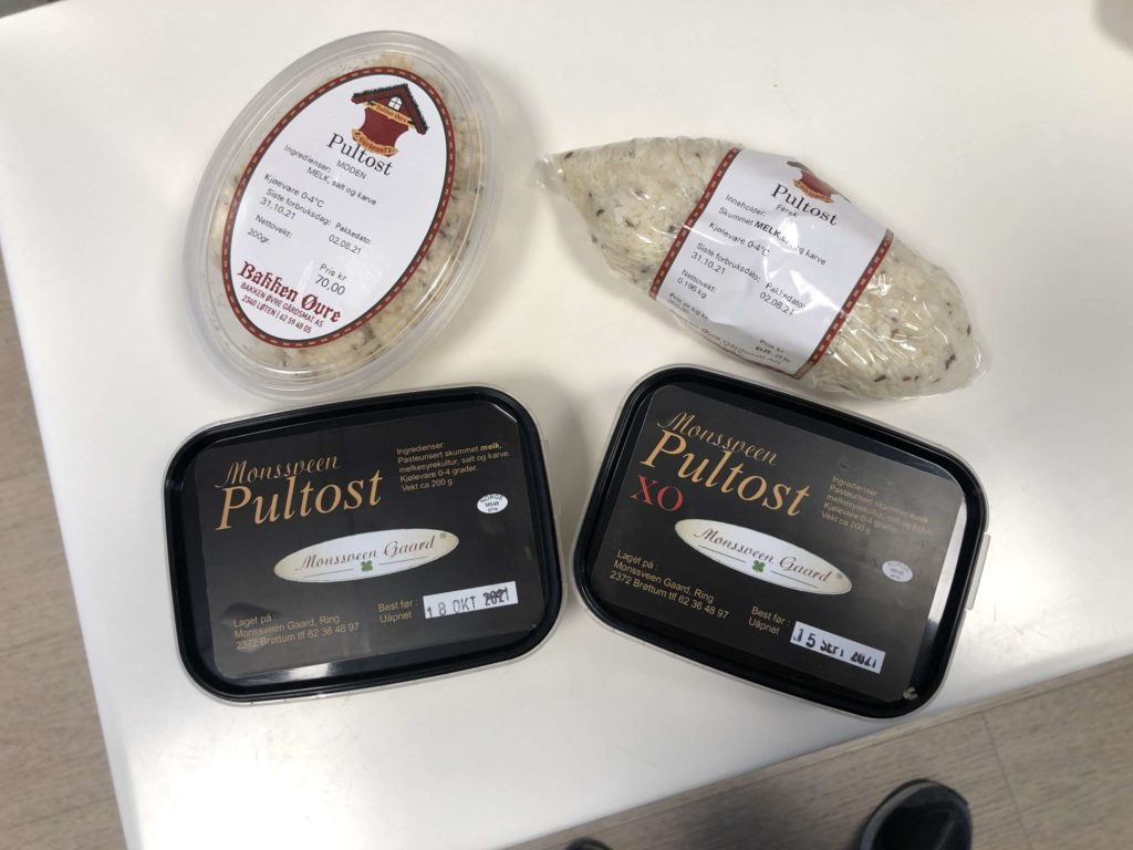 PULTOST: på Løten Nærstasjon får du kjøpt pultost fra Monsveen gård fra Ring og ost fra Bakken Øvre, Løten. Det finnes en som heter; fersk ost, en moden - variant og en som er kalles XO -og den er ekstra sterk.