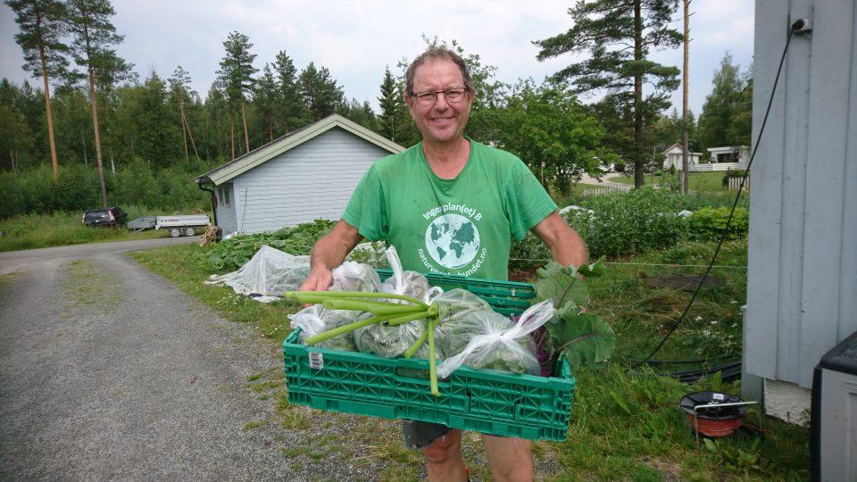 FRA EGEN HAGE: Thomas Cottis høster økologiske grønnsaker fra sin egen kjøkkenhage, og selger blant annet via hengeren i Bjørnstadkrysset. Foto: Privat.